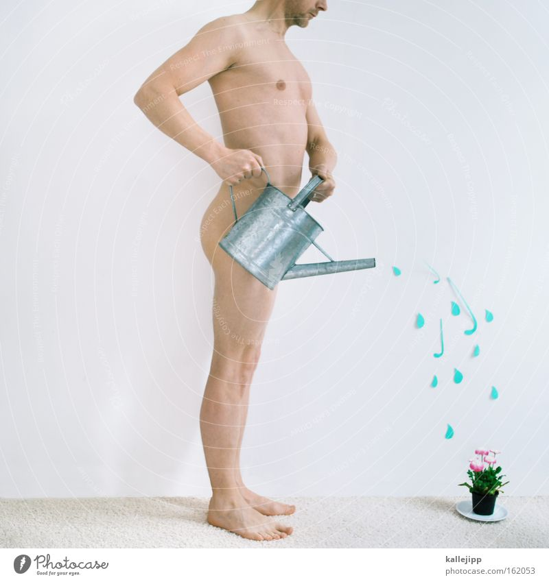 spring fever Man Naked Offspring Water Gardener Watering can Plant Growth Financial Credit Financial Industry Share Spring