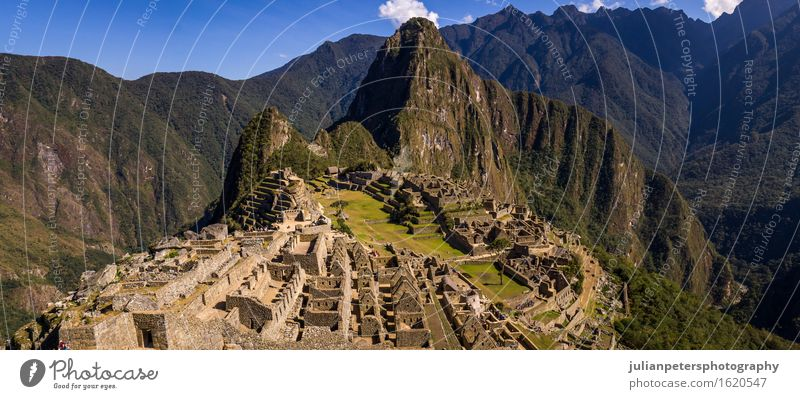 The Inca city of Machu Picchu Sky Nature Vacation & Travel City Old Blue Green Landscape Clouds Mountain Street Natural Stone Earth Rock Tourism