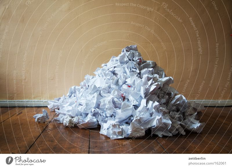 heaps Paper Wastepaper Wastepaper basket Paper jam Paper role Trash Waste utilization Idea Error Brainstorming Creativity Wrinkles Heap Mountain Write