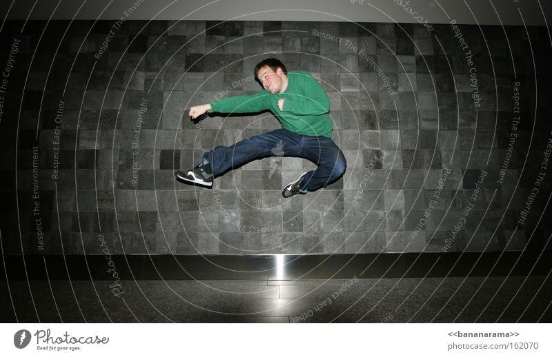 Man Jump Power Flying Action Anger Aggravation Beat Martial arts Boxing Karate Kick Revenge Chinese martial art
