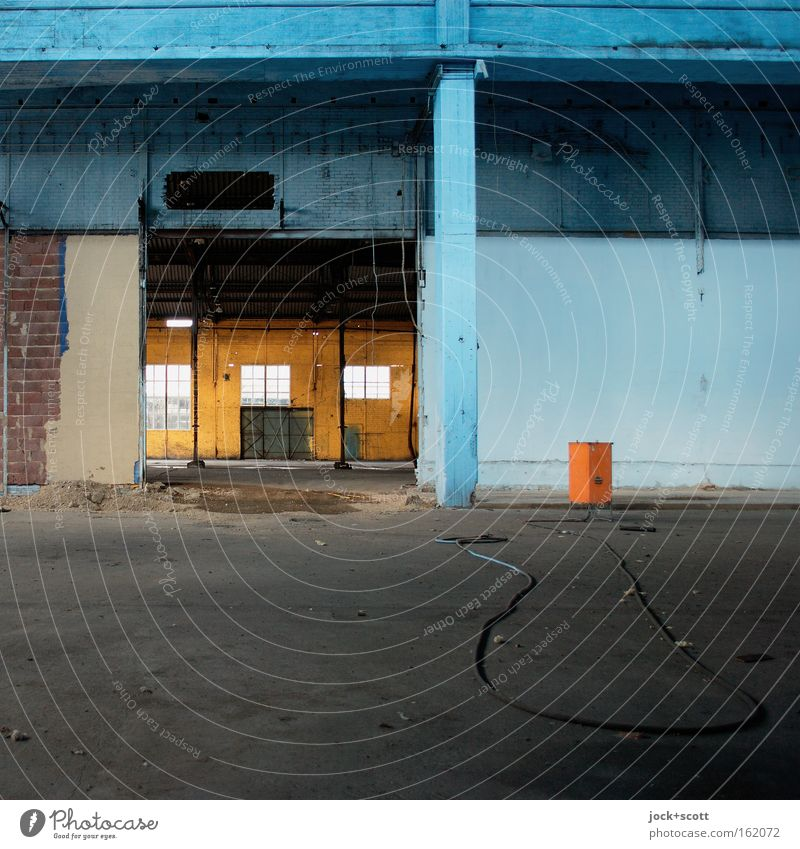Nothing at all in stock Cable Architecture Wall (building) Window Stone Concrete Lie Blue Moody Orderliness Break Stagnating Warehouse Hall Column