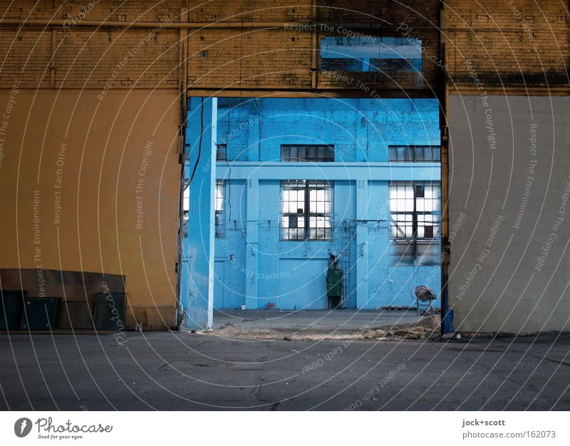 out of stock II Room Architecture Warehouse Wall (barrier) Wall (building) Window Stone Old Blue Yellow Black Moody Calm Cleanliness Modest Peace Boredom