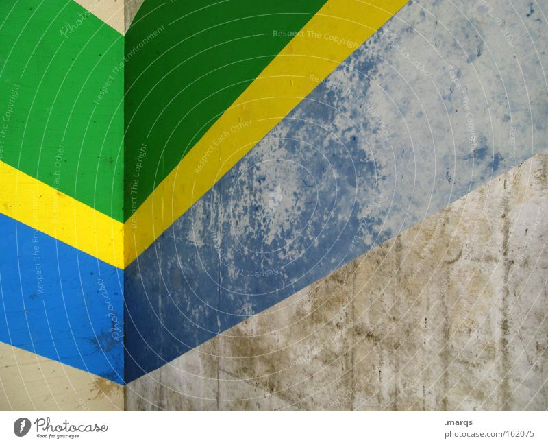 Brazil Architecture Facade Line Stripe Old Positive Retro Blue Yellow Gray Green Colour Corner Upward Diagram Background picture Upswing Shabby Flag