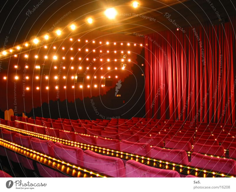 Red Lamp Dark Room Art Empty Film industry Leisure and hobbies Culture Theatre Cinema Drape Armchair Row of seats Going out Projection screen