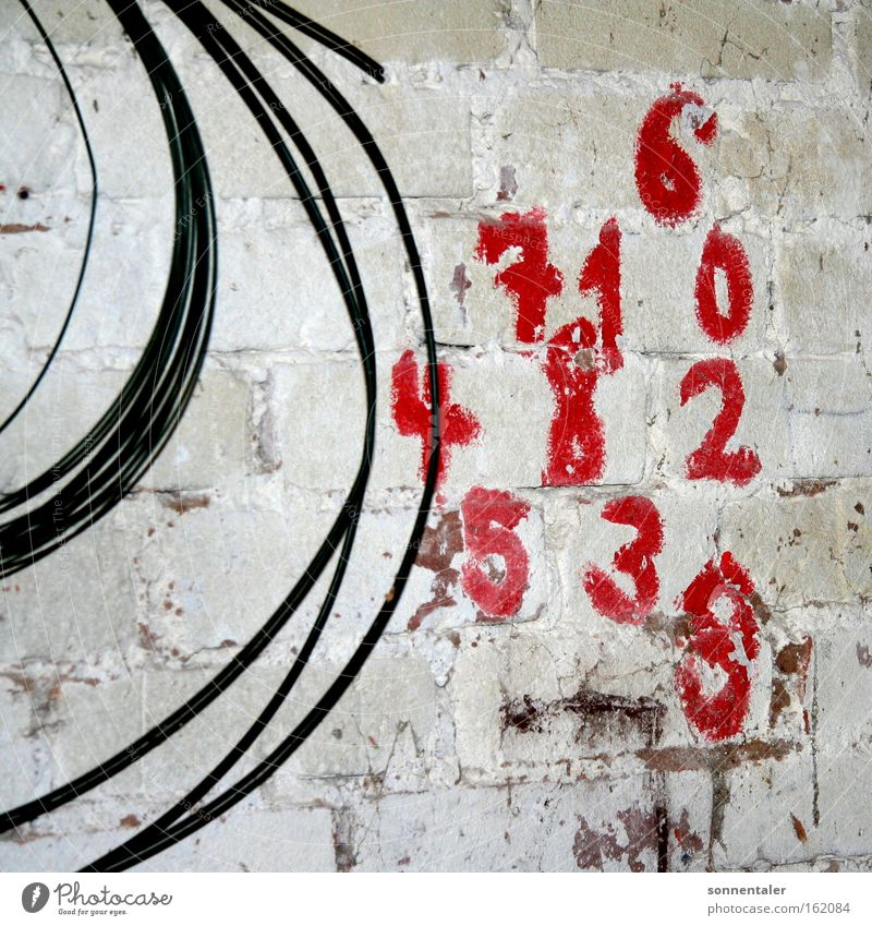Red Colour Wall (building) Playing Stone Wall (barrier) Mathematics Cable Digits and numbers Painting and drawing (object) Draw Classification Numbers