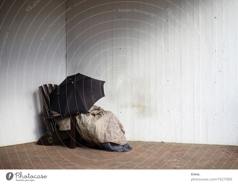 City Wall (building) Wall (barrier) Arrangement Gloomy Transience Change Hope Safety Protection Chair Dry Umbrella Under Trashy Inspiration