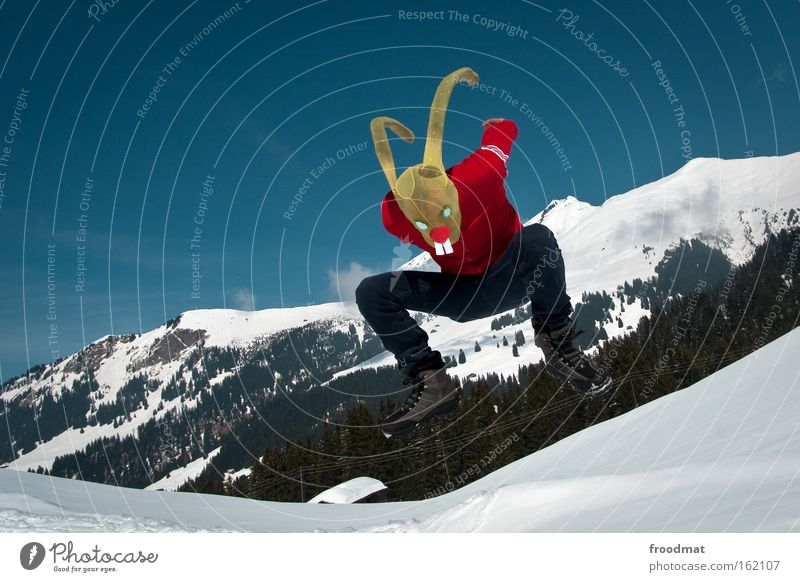 Joy Winter Snow Jump Mountain Funny Crazy Easter Switzerland Mask Alps Swiss Alps Tights Easter Bunny Dress up