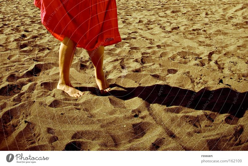 beach dance Beach Sand Vacation & Travel Summer Warmth Skirt Red Barefoot Shadow Coast