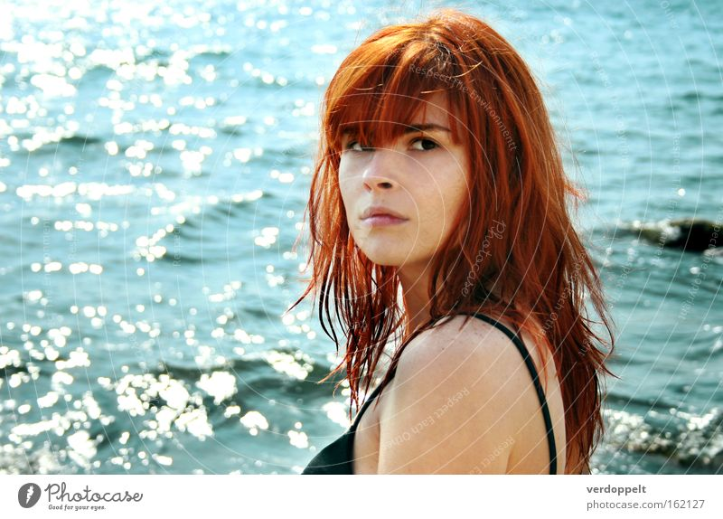 0_10 Woman Water Ocean Blue Red Summer Emotions Style Wet Hair Portrait photograph Body of water