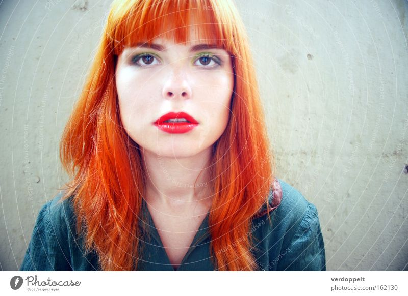 0_11 Woman Red Face Colour Emotions Style Bright Hair Lips Make-up Mouth Human being