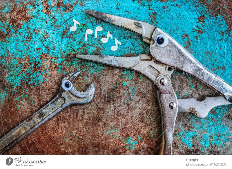 I'll whistle something for you! Pliers and a screwdriver with eyes on a rusty background.  White musical notes in the mouth of the pliers Profession