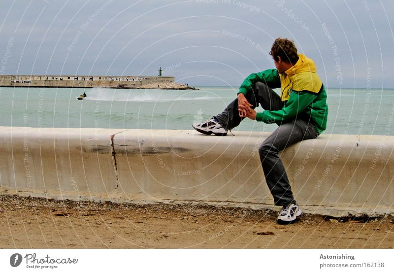 """Look! A boat!"" Watercraft Man Ocean Looking Wall (barrier) Weather Spain Human being Waves Sky Sit Legs"