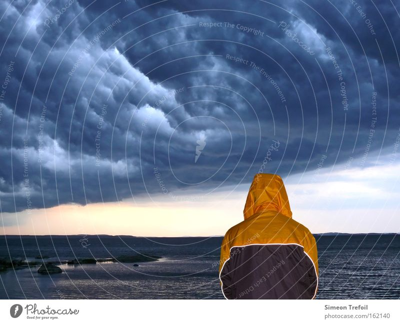 thunderstorms Thunder and lightning Human being Rain Jacket Nature Freedom Loneliness Fear Protection Safety (feeling of) Home country Ocean Lake Clouds Gale