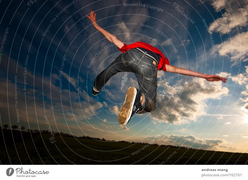 flying away Jump Sun Style Action Lanes & trails Field Freedom Sky Joy Aviation To enjoy Playing