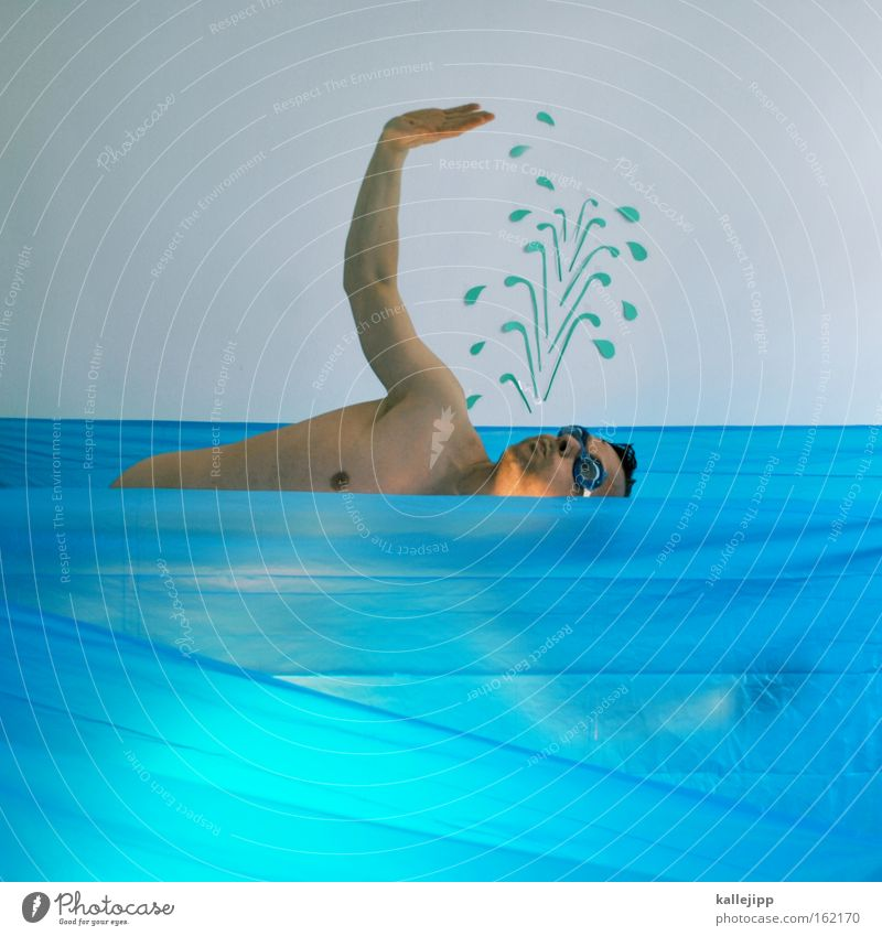 freestyle Man Human being Swimming Dive Water Comic Inject Seahorse Lifeguard Sports Joke Swimming goggles Naked Ocean Aquatics free float Swimming & Bathing