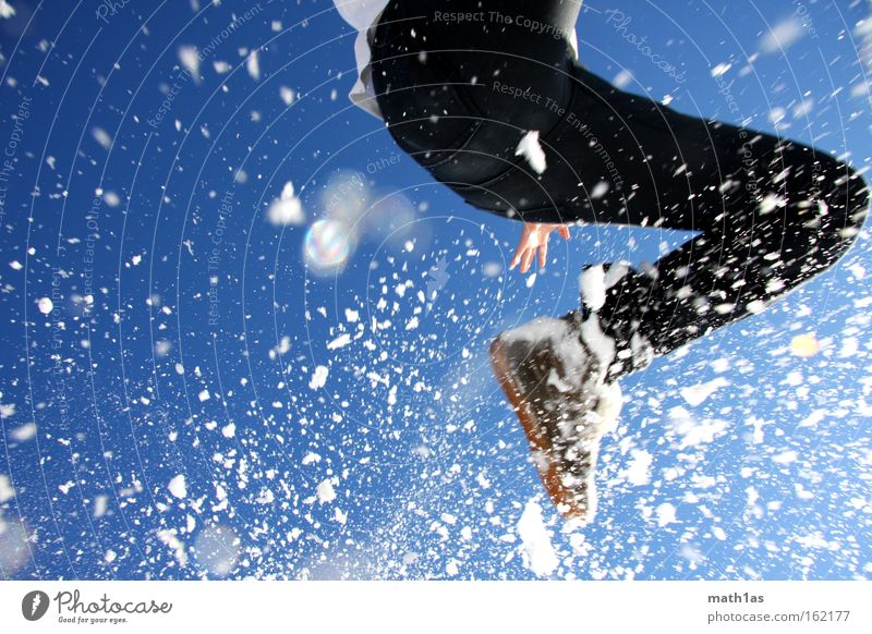 Sky Man Blue Hand White Black Snow Playing Jump Footwear To fall Pants