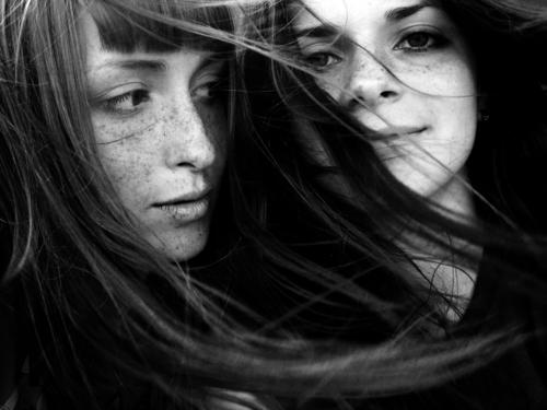 0_12 Black & white photo Portrait photograph Woman Hair and hairstyles Wind Grinning Long-haired Emotions bw freckles eyes youth young