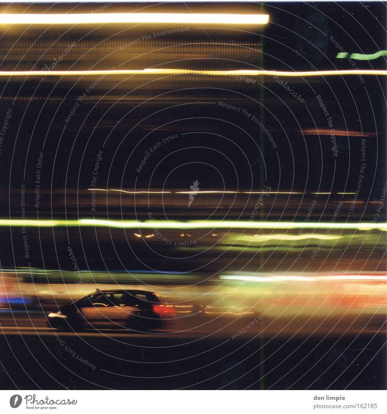 mr. mojo risin Car Town Light Motion blur Medium format Long exposure Barcelona Taxi Night Multicoloured Blur Analog