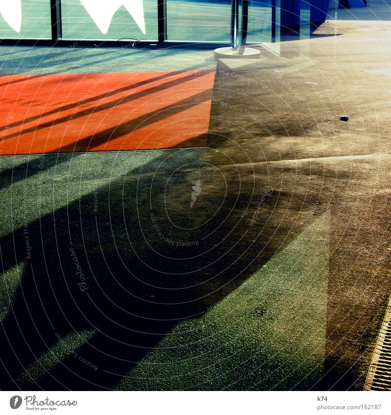 entrance shadows Shadow Geometry Structures and shapes Abstract Entrance Composing Formal Light Red carpet Detail