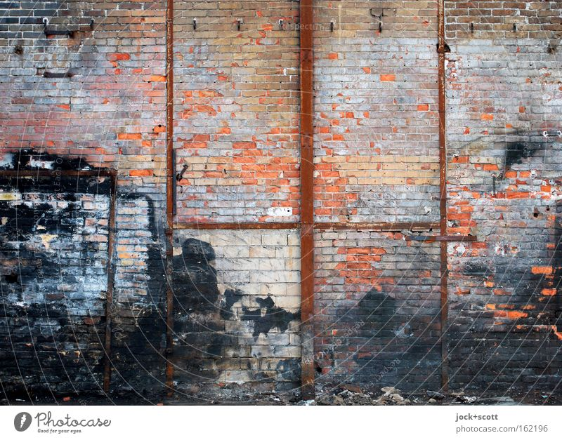ravages of time Lichtenberg Wall (barrier) Wall (building) Prop Rust Brick Line Stripe Dirty Simple Broken Multicoloured Red Black Moody Unwavering Pain Stress