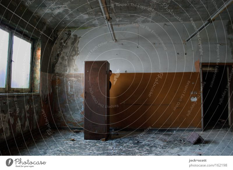 spatial position (hidden) Hide Room Wall (building) Window Rust Observe Dirty Happiness Transience Locker Derelict Vacancy Ravages of time Subdued colour Shadow