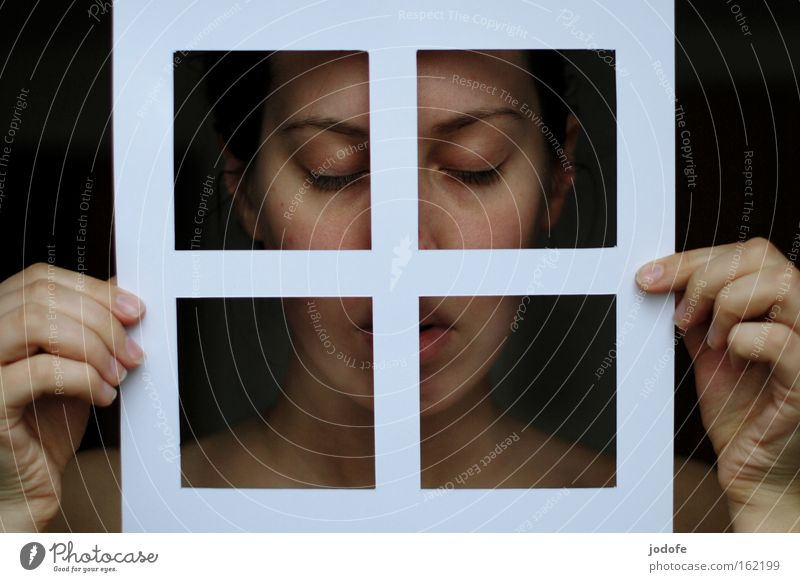 Human being Woman Hand Beautiful Face Eyes Window Natural Mouth Paper To hold on Pure Soul Humanity
