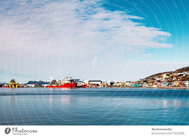 Hammerfest Vacation & Travel Tourism Work and employment Logistics Energy industry Sky Clouds Summer Beautiful weather Coast Ocean Small Town Port City
