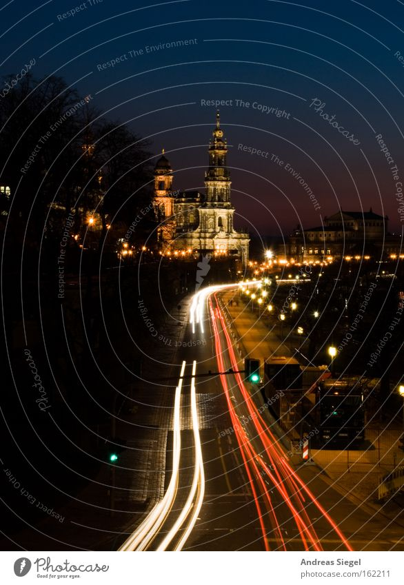 favourite town Dresden Evening Night Transport Old town Hofkirche Lighting Street Road traffic Tracer path Dusk Favorite place Beautiful Landmark Monument