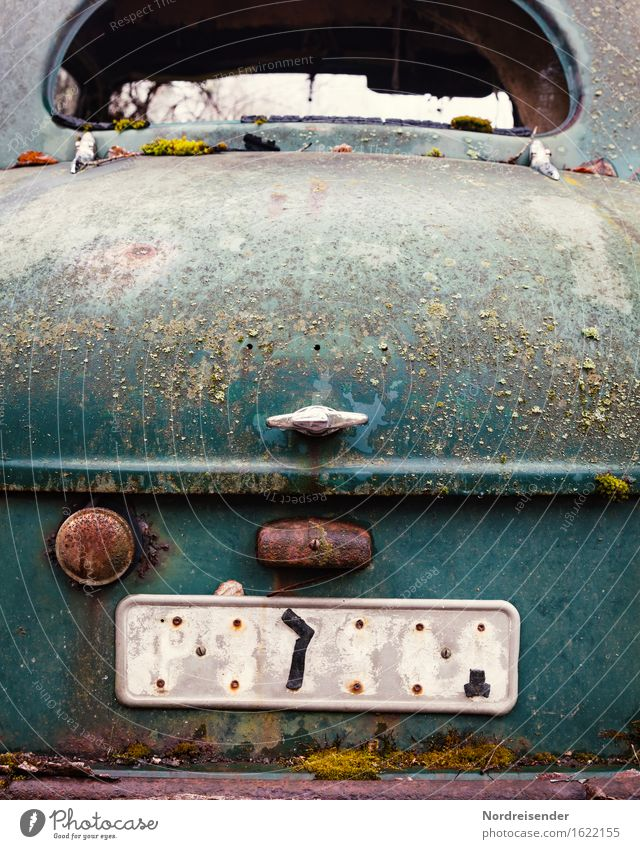 patina Work and employment Craft (trade) Transport Means of transport Vehicle Car Vintage car Limousine Metal Steel Rust Sign Characters Digits and numbers