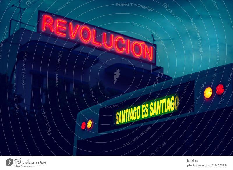 Santiago de Cuba Vacation & Travel City trip Santiago de Cuba province Public service bus Rear light Neon sign Sign Characters Signs and labeling Signage