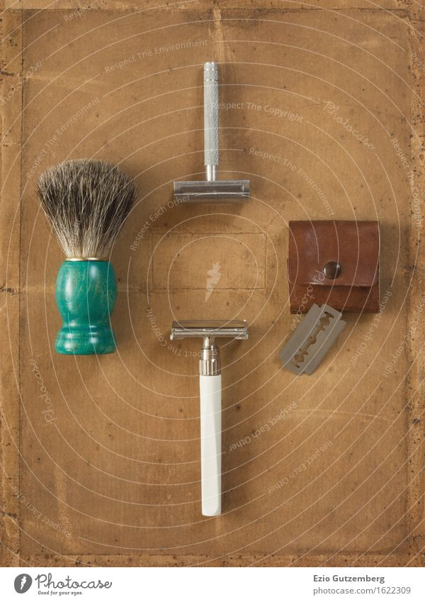 Flat Lay consisting of old shaving things Face Bathroom Hairdresser Facial hair Moustache Designer stubble Beard Razor blade Nostalgia Past flat lay flatlays