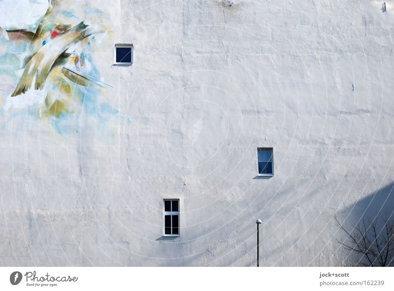Light / Shadow Work of art Street art Downtown Berlin House (Residential Structure) Architecture Window White Inspiration Fire wall Painted Fashioned Paintwork
