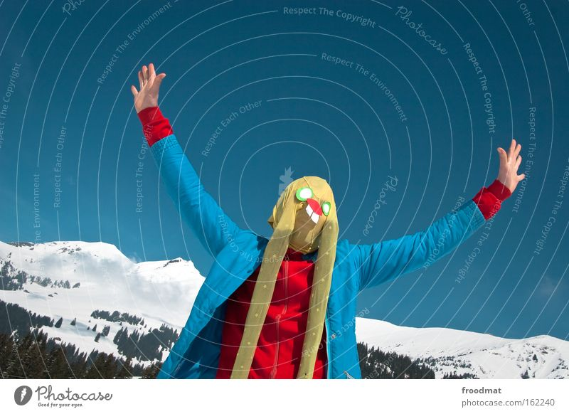 Snow Mountain Art Funny Crazy Easter Ear Culture Switzerland Mask Alps Swiss Alps Tights Human being Easter Bunny