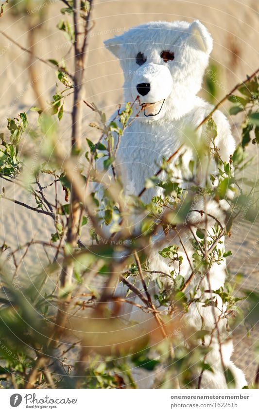 Top hiding place! Art Esthetic Polar Bear Bushes Desert Hide Wilderness Costume Joy Comical Funster The fun-loving society Disguised Colour photo Multicoloured
