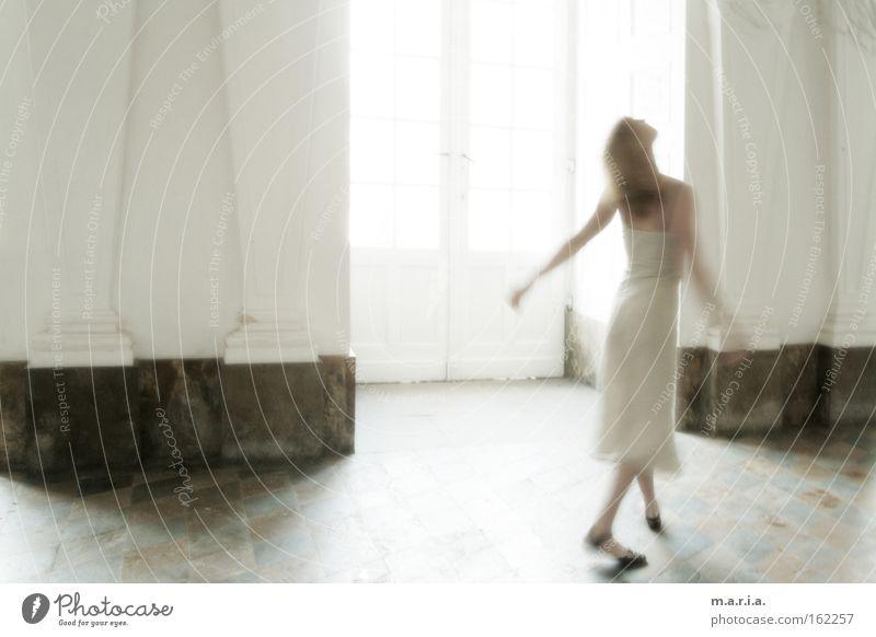 Woman White Joy Window Movement Dance Art Dress Culture Castle Transparent Hall Marble