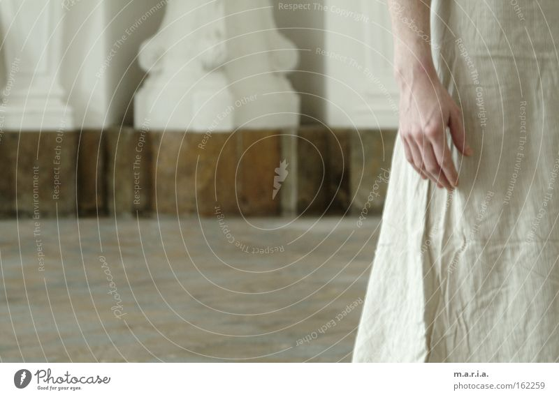 Woman Hand Beautiful White Loneliness Think Wedding Dress Transience Delicate Room Hall Marble