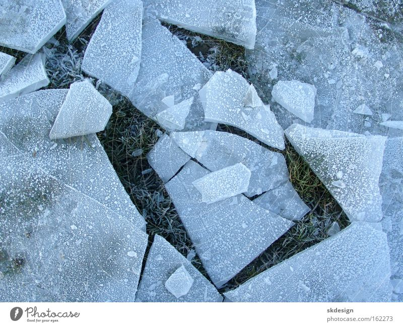 Blue Winter Cold Ice Broken Frozen Sharp-edged Crystal structure Splinter Ice floe Snap