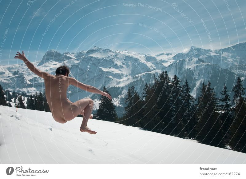 Winter Joy Forest Cold Snow Mountain Naked Freedom Jump Healthy Crazy Happiness Cool (slang) Bottom Alps Beautiful weather