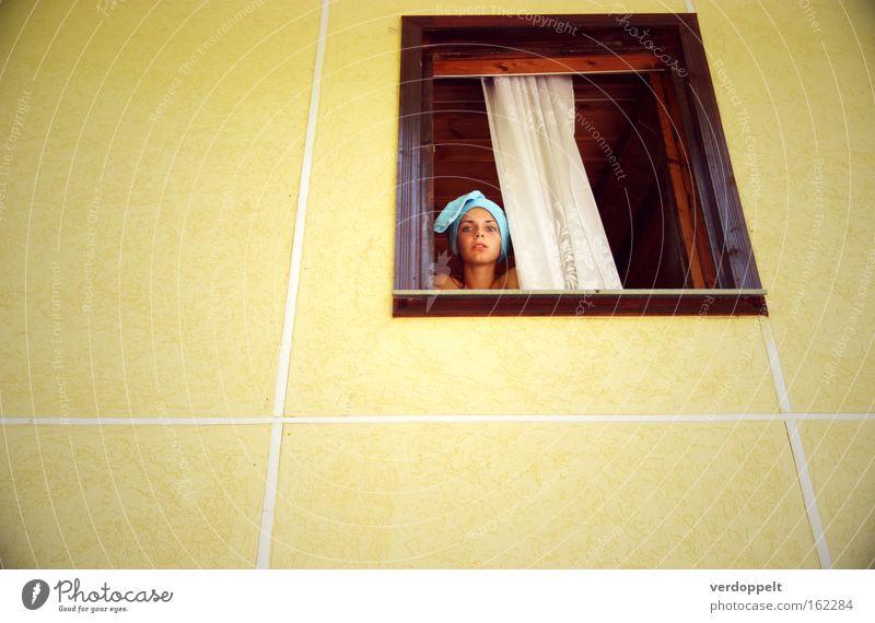 0_15 Woman Yellow Window Style Living or residing Turban Bath towel