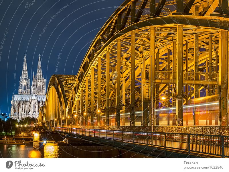 Cologne Cathedral with bridge Dome Tourist Attraction Esthetic Blue Yellow Colour photo Night Motion blur