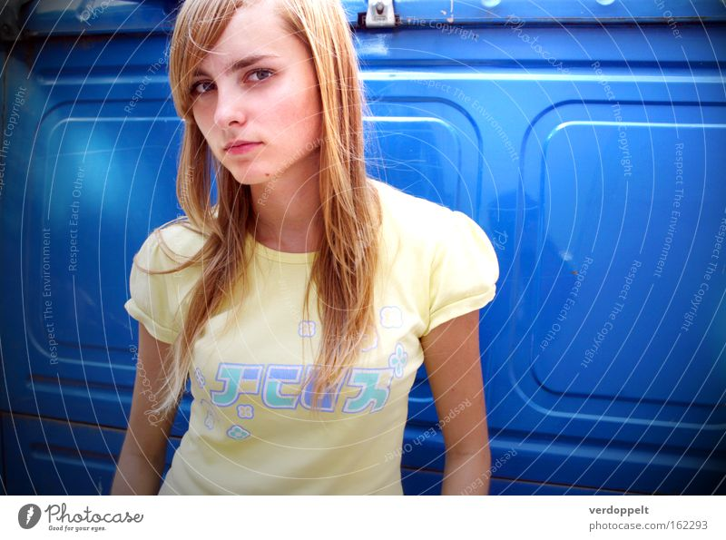 0_16 Portrait photograph Style Styling Hair Blue Colour Hieroglyph Anime Thin Yellow T-shirt Light Light (Natural Phenomenon) Clothing Face Woman look glance