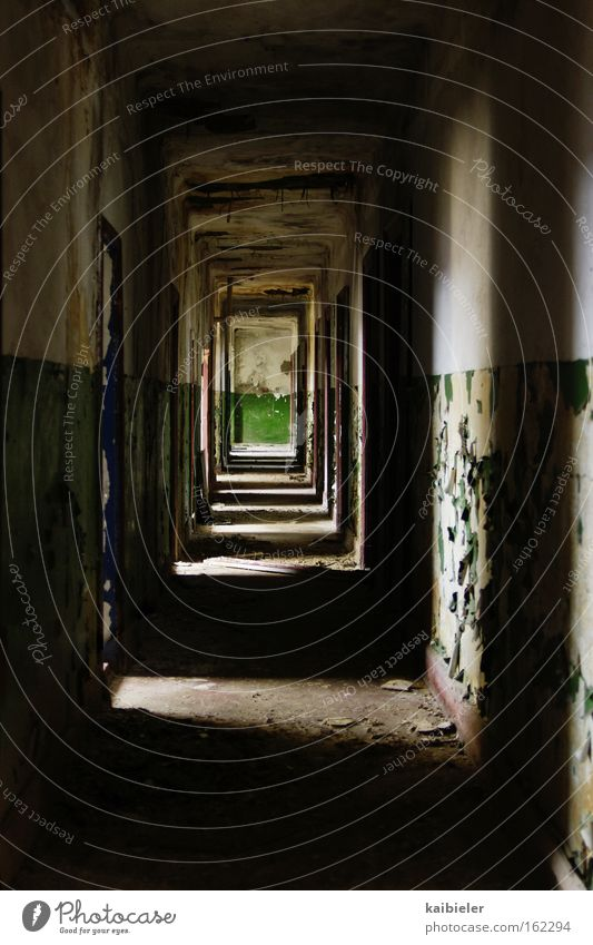 Green at the end of the tunnel Light Shadow Ruin Tunnel Blue Loneliness Fear Decline Transience Hallway Corridor Military building Derelict Panic Red Army