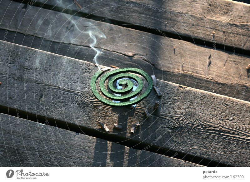 smoke sign Smoke Glow Wooden floor Second-hand Green Brown Vacation & Travel Finland Useful Summer Mosquitos Spiral Odor Macro (Extreme close-up) Close-up