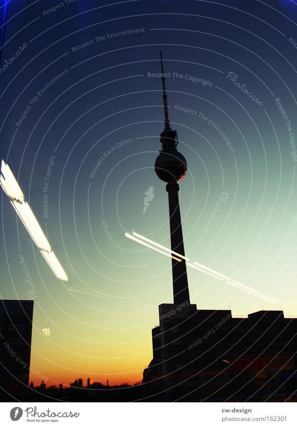 Blue Black Berlin Architecture Germany Technology Tower Thin Idyll Monument Manmade structures Traffic infrastructure Historic Night Landmark