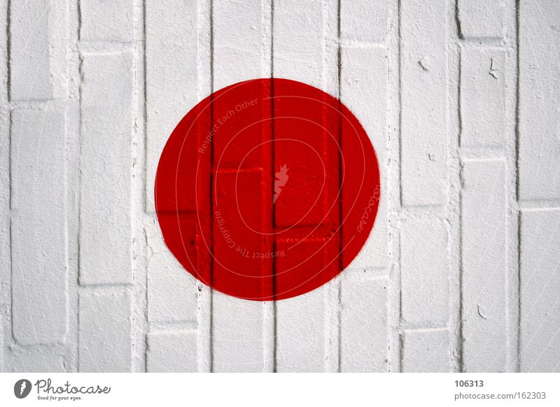 Photo number 117161 Red Circle Wall (building) Stone Flag Japan Point Colour Dye Sign White Round Graffiti Mural painting