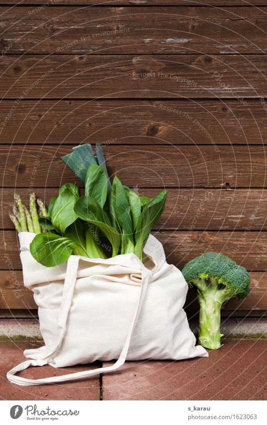 Green vegetables Food Vegetable Nutrition Organic produce Vegetarian diet Diet Healthy Healthy Eating Fresh To enjoy Shopping Bag Pak choy Broccoli Asparagus