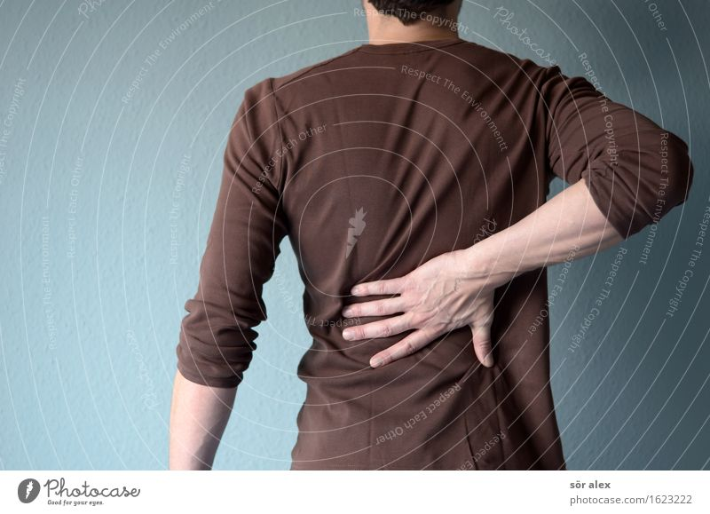backaches Human being Masculine Man Adults Back by hand 1 30 - 45 years T-shirt Fatigue Exhaustion Physiotherapy Pain Body consciousness Health care Back pain