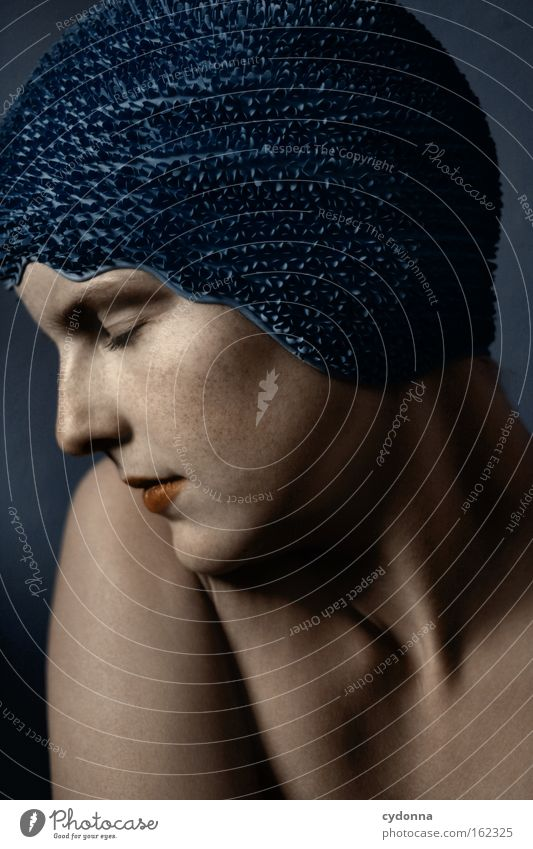 Woman Human being Blue Beautiful Calm Face Playing Movement Elegant Skin Peace Smooth Vulnerable