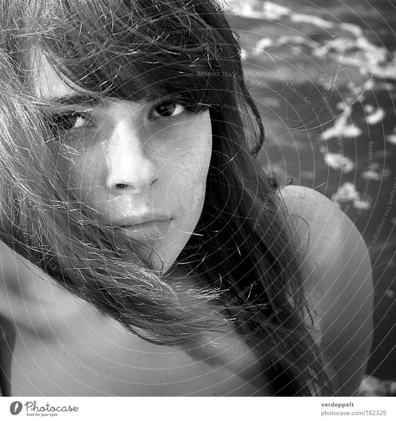 0_17 Woman Black & white photo Ocean black & white Portrait photograph Light Eyes Hair Gale glance look Style Haircut hairstyle
