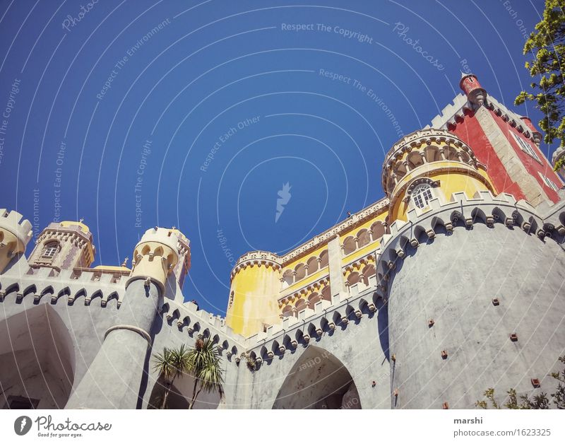 Portugal's Neuschwanstein Tourist Attraction Sintra Castle Lock Multicoloured Large City trip Red Yellow Blue Bulky Exterior shot Height Domicile